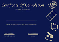 Blue and Yellow Illustrated Certificate of Film Editing Class Completion Educational Course
