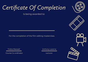 Blue and Yellow Illustrated Certificate of Film Editing Class Completion Certificate