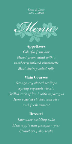 green floral script wedding menu  Flowers