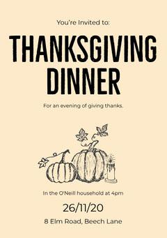 Yellow Illustrated Pumpkin Thanksgiving Dinner Invitation Card Thanksgiving