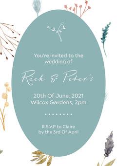 Blue Floral Wedding Invite A5 Christmas Invitation