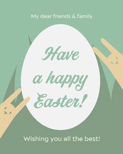 Green and Orange Rabbit Illustration Happy Easter Instagram Portrait  Easter
