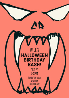 Red, White and Black Halloween Birthday Party Invitation Card Birthday Bash