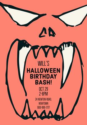 HALLOWEEN BIRTHDAY BASH! Birthday Invitation (Boy)