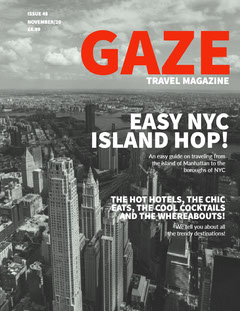 Black, Red and White Travel Magazine Cover City