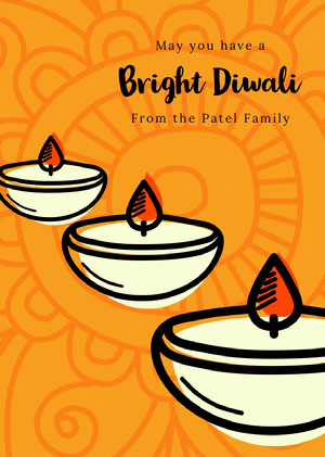 Orange, White and Black Happy Diwali Wishes Card Diwali