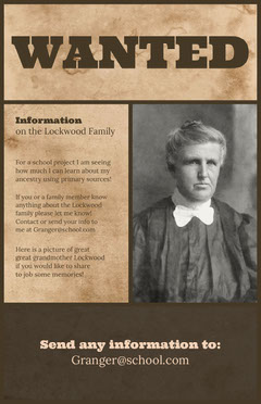 Brown Information for School Project Wanted Poster Brown