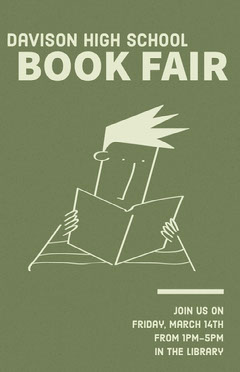 Green Illustrated Book Fair School Event Flyer Fairs