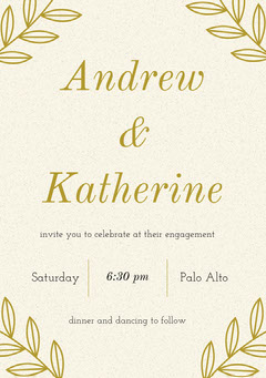 Gold Engagement Party Invitation Card Couple