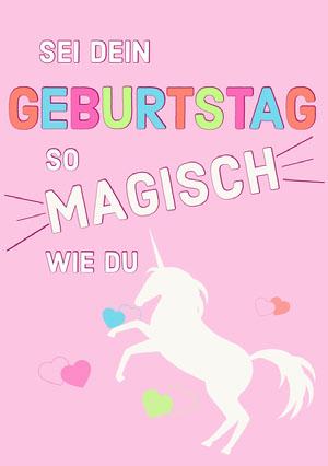 magical unicorn birthday cards Geburtstagskarte mit Einhörnern