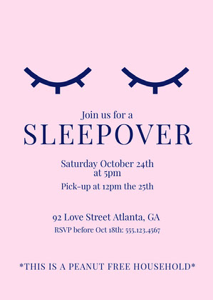 Pink Minimal Sleepover Invitation Sleepover Invitation