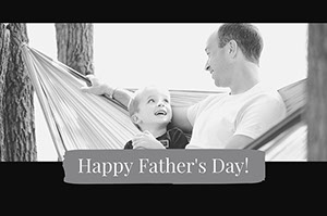 Black and White Fathers Day Card Facebook Banner Father's Day Messages