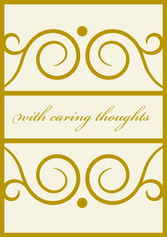Gold and White Ornate Sympathy Card Gold