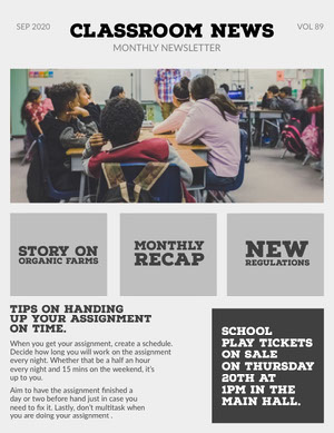 Gray Classroom School and Education Newsletter Newsletter