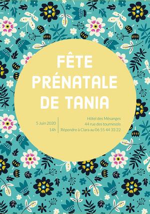 floral patterned baby shower invitations  Invitation fête de naissance
