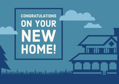 Blue Illustrated New Home Congratulations Card Sweet Home