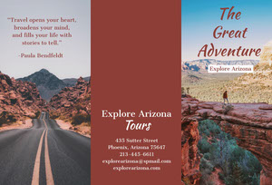 Red Arizona Travel Brochure with Desert and Canyon Brochure