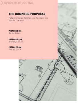 Pink Business Proposal with Architectural Plan Forslag