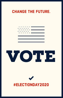 Blue and Red Vote Election Poster with American Flag Voting