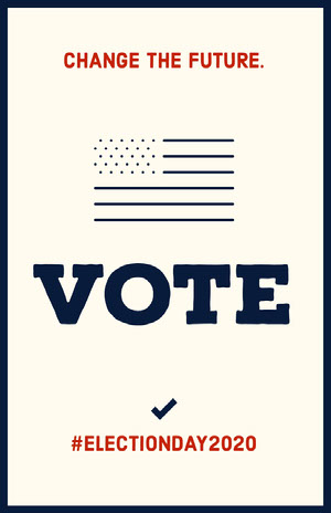 Blue and Red Vote Election Poster with American Flag Grassroot Movement Posters