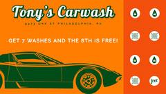 orange retro loyalty card Car Wash