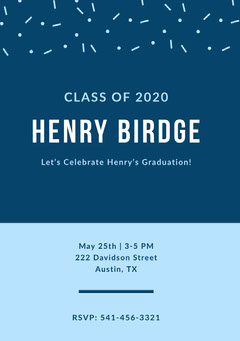 Blue Graduation Announcement Card with Confetti Confetti