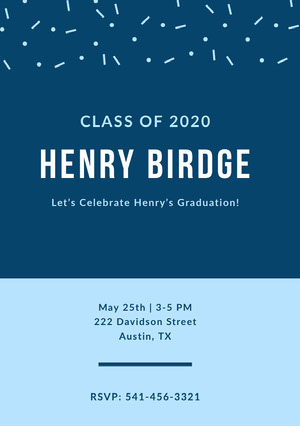 Blue Graduation Announcement Card with Confetti Karte zum Schulabschluss