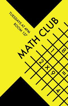 Yellow Math Club School Poster Math