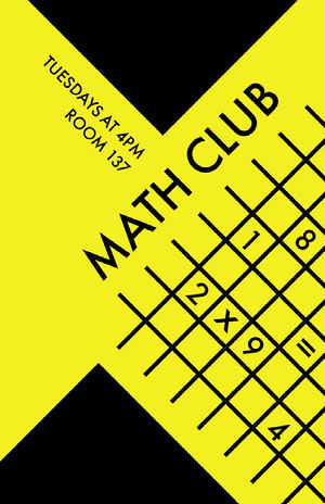 Yellow Math Club School Poster School Poster