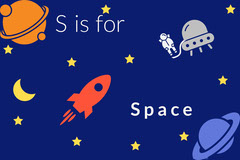 Outer Space S Letter Alphabet Flashcard Fish