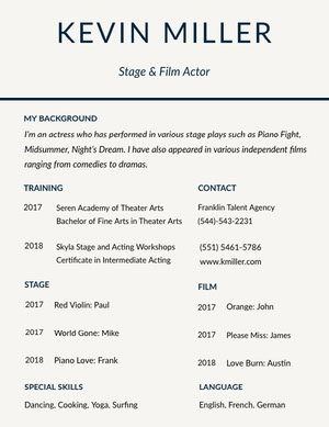 Blue and White Actor Resume Curriculum per attori