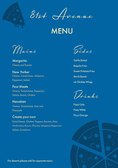 Blue Mono Tone Pizza Menu Pizza