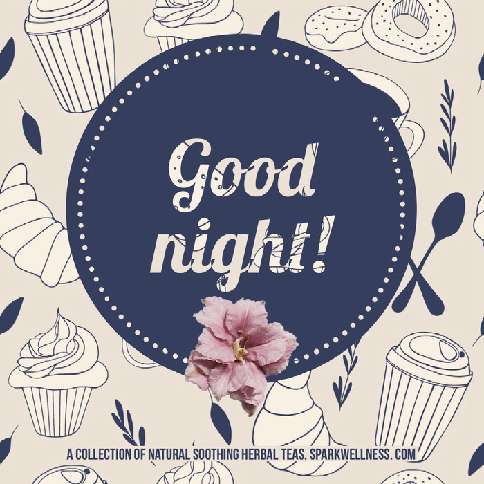 Pink and Blue Herbal Tea Shop Square Instagram Ad Graphic  Good Night Messages