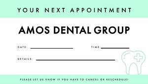 Mint Dentist Appointment Card Appointment Card