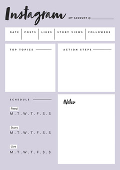 White and Lillac Instagram Planner A4 Blogger