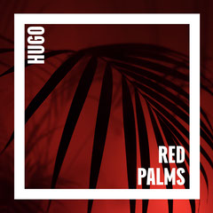 Red and White Frame and Palm Leaves Album Art Leaf