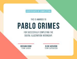 Colors Digital Illustration Internship Certificate  Internship Certificate