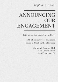 ANNOUNCING OUR ENGAGEMENT Club Party