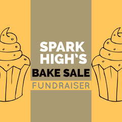 Orange and White Bake Sale Social Post Fundraiser