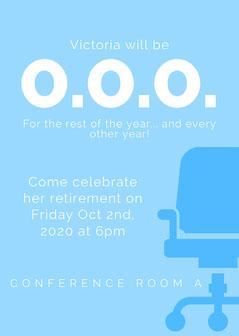 Blue Minimal Retirement Party Invitation Retirement