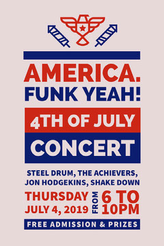 Red Blue and Pink Concert Poster 4th of July