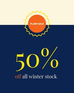 Blue Flash Winter Sale Ad Yellow