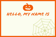 White and Orange Halloween Kid Spooky Party Name Tag  Festa di Halloween