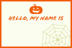 White and Orange Halloween Kid Spooky Party Name Tag  Halloween Party Name Tag