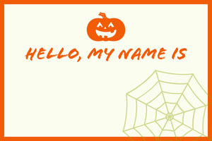 White and Orange Halloween Kid Spooky Party Name Tag  Etichetta nome