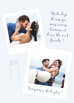Blue and White Polaroid Wedding Anniversary Card