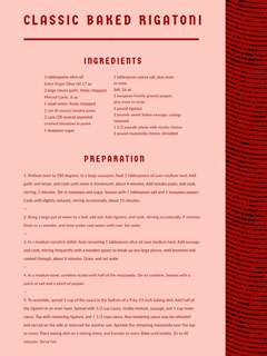 Red Classic Baked Rigatoni Recipe Card Cooking