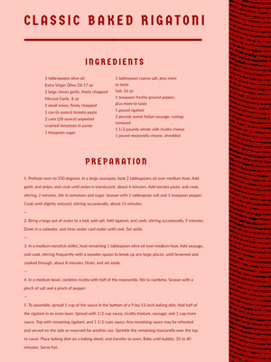 Red Classic Baked Rigatoni Recipe Card 조리법 카드