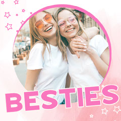 Pink Circle & Stars Besties Instagram Square Stars