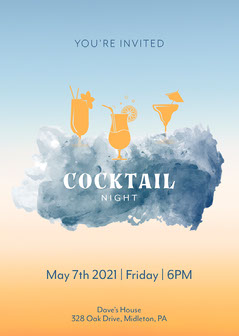 Blue Cloud Cocktail Night Invite Cocktails